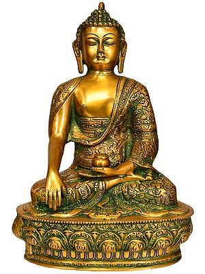Lord Buddha in Bhumi-Sparsha Mudra with His Life Scenes on Robe