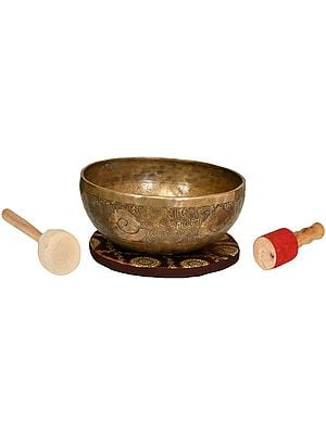 Tibetan Buddhist Hand Hammered Singing Bowl with Image of White Tara Inside -Superfine Quality
