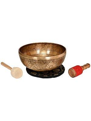 Tibetan Buddhist Superfine Singing Hand Hammered  Bowl with the Image of Medicine Buddha