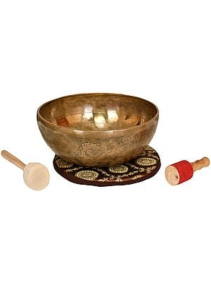 Superfine Hand Hammered Tibetan Buddhist Ritual Singing Bowl with Image of White Tara Inside