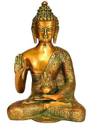 Tibetan Buddhist Blessing Medicine Buddha Robe Decorated with Lotus