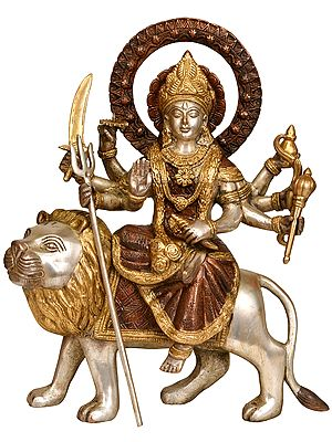 Ashtabhuja-dhari Durga on Her Mount Lion