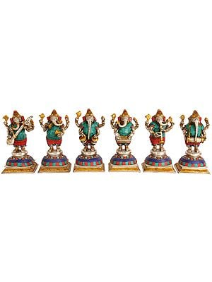 Musician Ganesha (Set of Six)