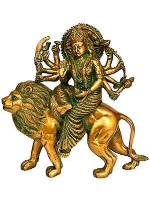 Goddess Durga on Her Mount Lion