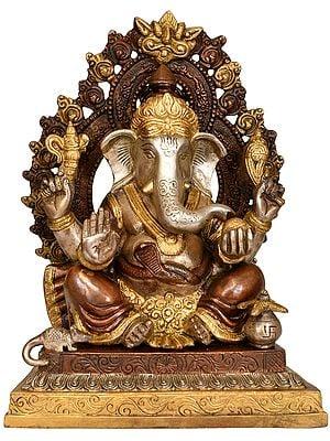Lord Ganesha on Throne with Prabhavali and Kirtimukha