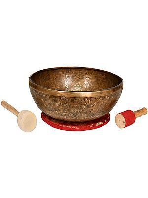 Tibetan buddhist Singing Bowl with Om Mani Padme Hum Singing Bowl and Syllable Mantra