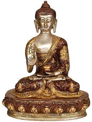 Tibetan Buddhist Lord Buddha in Vitark Mudra -Robe Decorated with Life Scenes