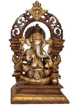 Lord Ganesha with Prabhavali and Kirtimukha
