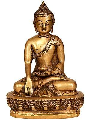 Tibetan Buddhist Lord Buddha in Bhumi Sparsha Mudra