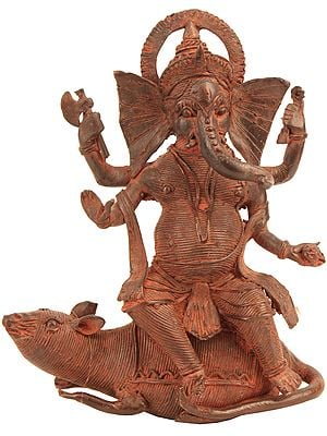 Lord Ganesha Riding on His Mouse (Tribal Statue from Bastar)
