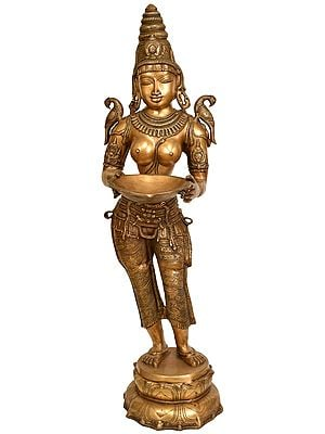Large Size Deepalakshmi with Parrot on Shoulders