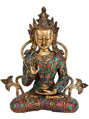 Tibetan Buddhist Deity Crowned Buddha Preaching His Dharma