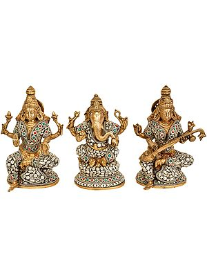 Lakshmi Ganesha and Saraswati (Set of Three Statues)
