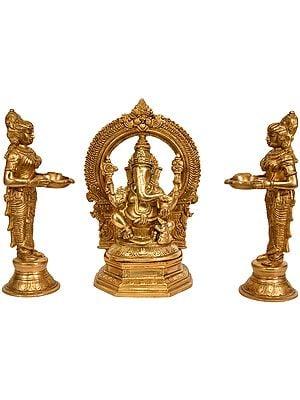 Lord Ganesha Worshipped by Lamp Goddesses (Set of Three Statues)