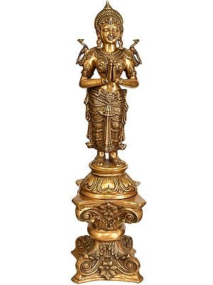 """45"""" Beautiful Welcome Lady Doing Namaste on Brass Pedestal 