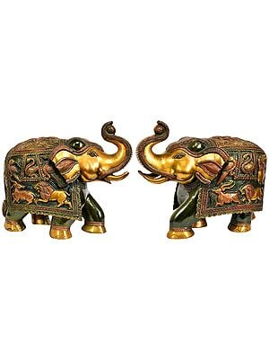Pair of Elephants with Upraised Trunks (Supremely Auspicious According to Vastu)
