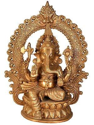 Lord Ganesha Seated on Lotus with Aureole