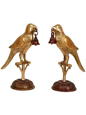 Pair of Parrots with Bell