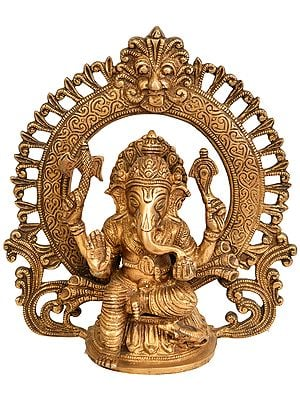 Lord Ganesha Seated on Lotus with Aureole