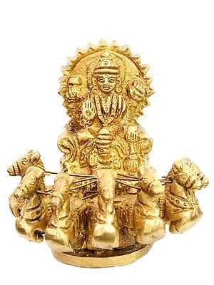Lord Surya on His Seven Horses Chariot (Small Statue)