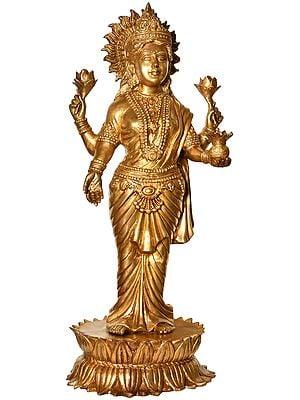 Goddess Lakshmi Standing on Lotus Pedestal (Large Size)