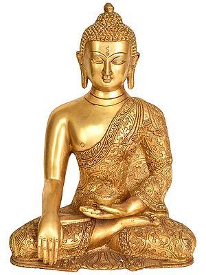 Lord Buddha in Bhumisparsha Mudra (Tibetan Buddhist Deity)  with Superfine Decorated Robes