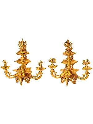 Ganesha-Lakshmi Wick Lamps (Set of Two Statues)