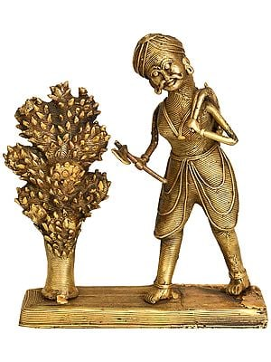 Man Cutting a Cactus Tree - Tribal Statue from  Bastar