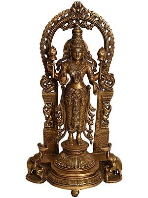 Goddess Lakshmi Standing on Lotus Pedestal with Elephant Diyas