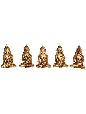 Set of Five Dhyani Buddhas (Tibetan Buddhist Deities)