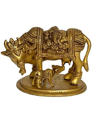 Cow and Calf - Saddle Decorated with Lakshmi Ganesha