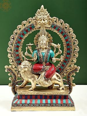 Goddess Durga Seated on Lion with Aureole and Kirtimukha Atop