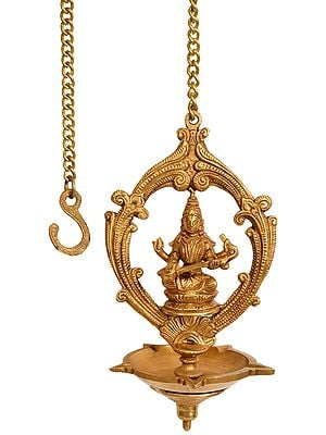 Five Wick Saraswati Ceiling Puja Lamp