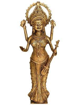 Standing Goddess Saraswati  (Tribal Statue from  Bastar)