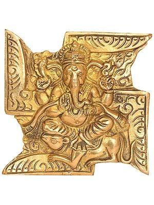 Ganesha Seated on Rat Wall Hanging (Flat Statue)