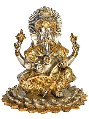Lord Ganesha Seated on Blooming Lotus Scripting The Mahabharata