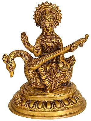 Goddess Saraswati Seated on Swan