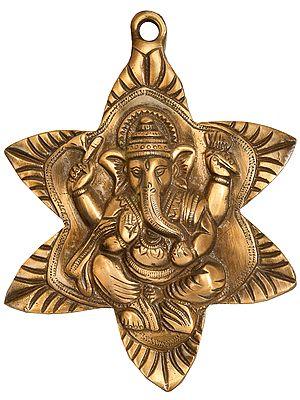 Wall-Hanging Lord Ganesha Nestled In Star-Shaped Leaf