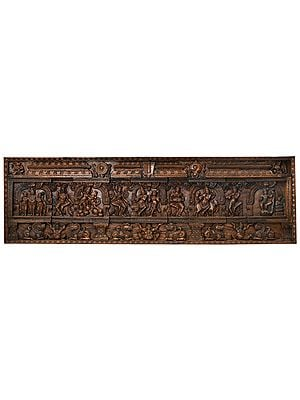 Finely Engraved Krishna-Lila Panel