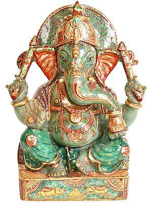 Lord Ganesha (Carved in Jade Gemstone)