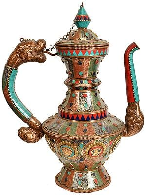 Large Size Ritual Kettle with Dragon Handle (Tibetan Buddhist)