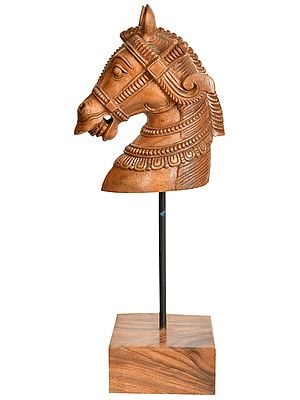 Wooden Horse Head on Stand