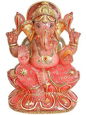 Kamalasana Shri Ganesha (Carved in Rose Quartz)