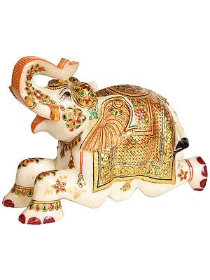 Royal White Elephant with Upraised Trunk