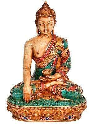 Meditating Lord Buddha in Bhumi-Sparsha Mudra - Tibetan Buddhist (Made in Nepal)