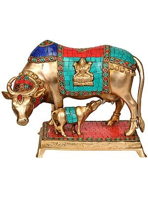Cow and Calf (Saddle Decorated with Lakshmi Ganesha)