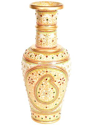 Decorated Flower Vase with Paisley (In Lattice)
