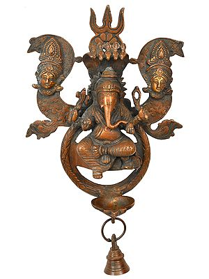 Lord Ganesha Wall Hanging Lamp with Trishul (Trident) and Parvati