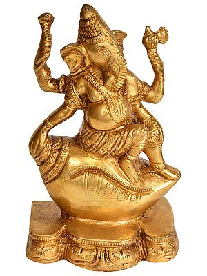 Lord Ganesha Seated on Conch