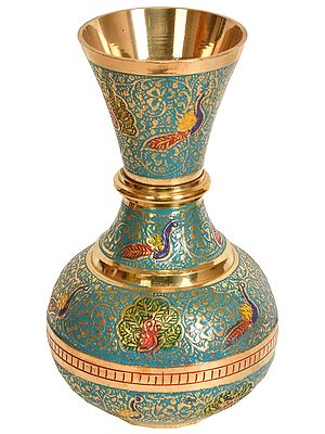Vase Decorated with Peacock, Foliate and Floral